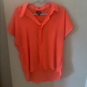 High low neon coral blouse